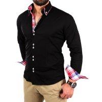Reslad Herren Hemd Button-Down Slim Fit Kontrast Langarmhemd RS-7015 Schwarz XL