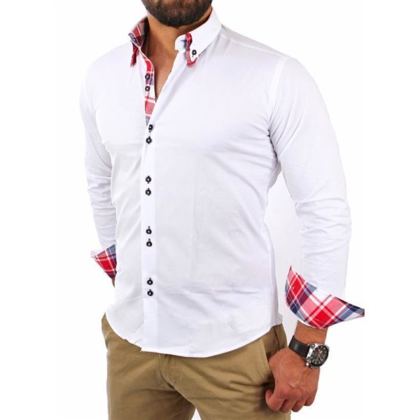 Reslad Herren Hemd Button-Down Slim Fit Kontrast Langarmhemd RS-7015 Weiß 2XL