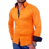 Reslad Herren Langarm Hemd Alabama RS-7050 Orange-Schwarz XL