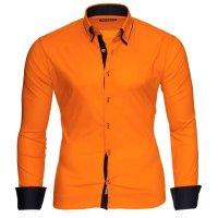 Reslad Herren Langarm Hemd Alabama RS-7050 Orange-Schwarz 2XL