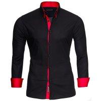 Reslad Herren Langarm Hemd Alabama RS-7050 Schwarz-Rot S