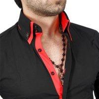 Reslad Herren Langarm Hemd Alabama RS-7050 Schwarz-Rot L
