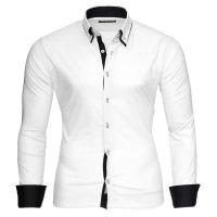 Reslad Herren Langarm Hemd Alabama RS-7050 Weiß-Schwarz S