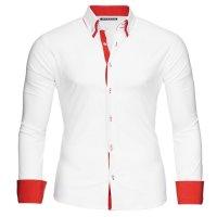 Reslad Herren Hemd Alabama RS-7050 M Weiß-Rot