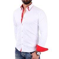 Reslad Herren Hemd Alabama RS-7050 2XL Weiß-Rot