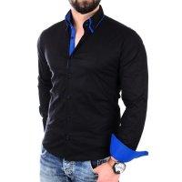 Reslad Herren Hemd Alabama RS-7050 L Schwarz-Blau