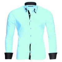Reslad Herren Hemd Alabama RS-7050 2XL Mint-Schwarz