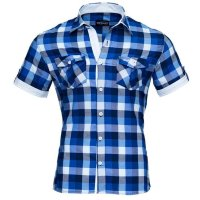 Reslad Herren Kurzarm Hemd Oceanside RS-7065 Blau M