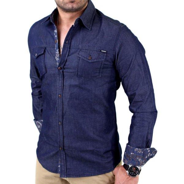 Reslad Premium Herren Vintage Jeanshemd Langarm Hemd RS-7111 Dunkelblau M