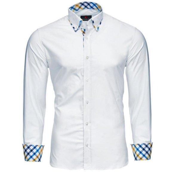 Reslad Herren Kontrast Karokragen Langarm Hemd RS-7200 Weiß S