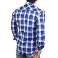 Reslad Hemd Herren Karo Material-Mix Jeans RS-7202 Blau M