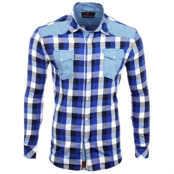 Reslad Hemd Herren Karo Material-Mix Jeans RS-7202 Blau L