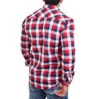 Reslad Hemd Herren Karo Material-Mix Jeans RS-7202 Rot 2XL