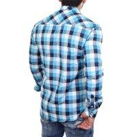Reslad Hemd Herren Karo Material-Mix Jeans RS-7202 Türkis S