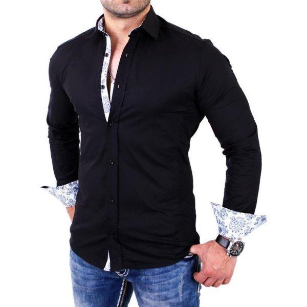 Reslad Herren Hemd Paisley Design Langarmhemd RS-7207 Schwarz L