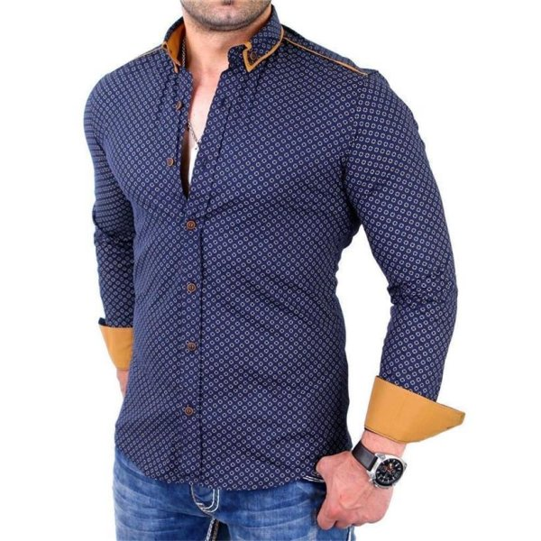 Reslad Herren Hemd Glencheck Button-Down-Kragen Langarmhemd RS-7208 Navy-Camel XL