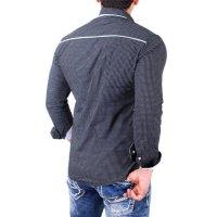 Reslad Herren Hemd Glencheck Button-Down-Kragen Langarmhemd RS-7208 Schwarz S