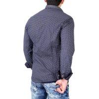 Reslad Herren Hemd Design Slim Fit Kontrast-Kragen Langarmhemd RS-7209B Navy XL