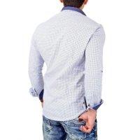 Reslad Herren Hemd Design Slim Fit Kontrast-Kragen Langarmhemd RS-7209B Weiß XL