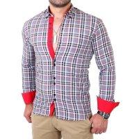 Reslad Herren Hemd Tartan Karo Design Langarmhemd RS-7211 Grau XL