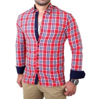 Reslad Herren Hemd Tartan Karo Design Langarmhemd RS-7211 Rot S