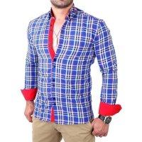 Reslad Herren Hemd Tartan Karo Design Langarmhemd RS-7211 Royalblau M