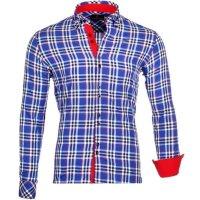 Reslad Herren Hemd Tartan Karo Design Langarmhemd RS-7211 Royalblau L