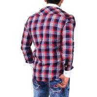Reslad Herren Hemd Karo Muster Design Langarmhemd RS-7212 Rot M