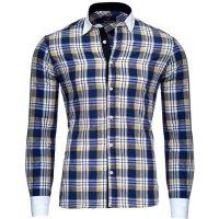 Reslad Herren Hemd Karo Muster Design Langarmhemd RS-7212 Camel 2XL