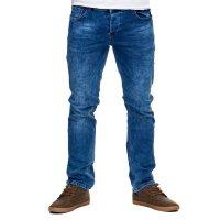 Reslad Jeans-Herren Slim Fit Basic Style Stretch-Denim Jeans-Hose RS-2063 Schwarz W36 / L30