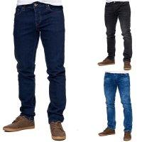 Reslad Jeans-Herren Slim Fit Basic Style Stretch-Denim Jeans-Hose RS-2063 Blau W31 / L34