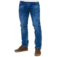Reslad Jeans-Herren Slim Fit Basic Style Stretch-Denim Jeans-Hose RS-2063 Dunkelblau W32 / L30