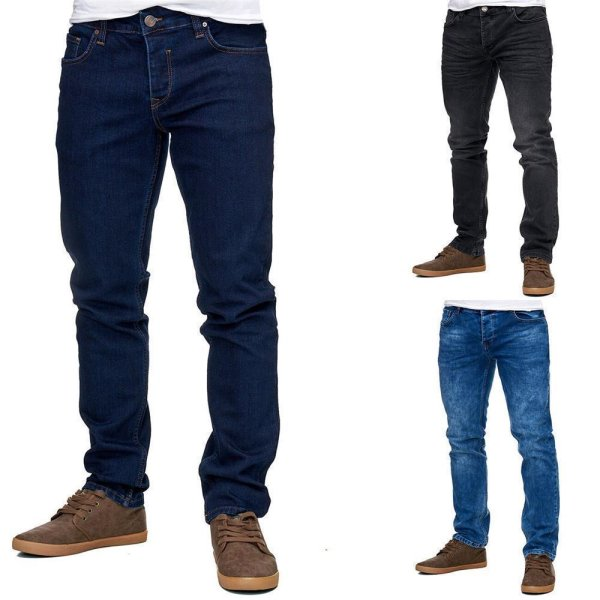 Reslad Jeans-Herren Slim Fit Basic Style Stretch-Denim Jeans-Hose RS-2063 Dunkelblau W29 / L32