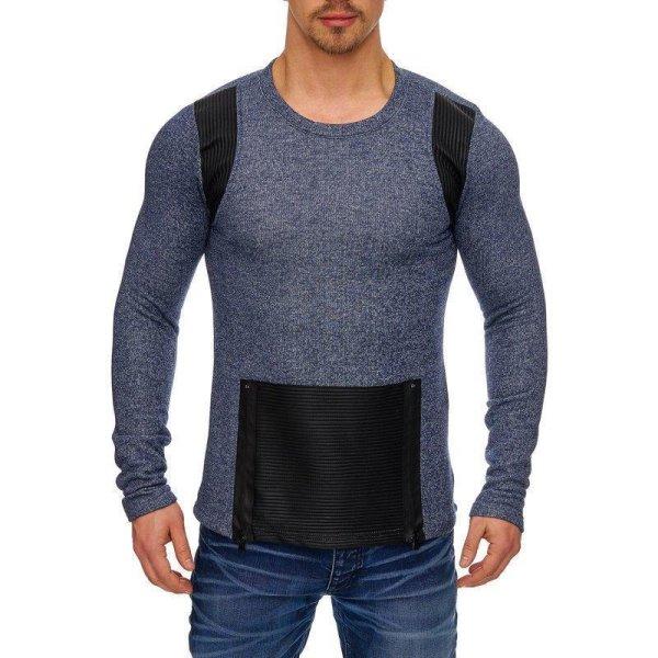Herren Oversize Sweatshirt Pullover Hoodie TAZZIO 1231-1 Indigo XL