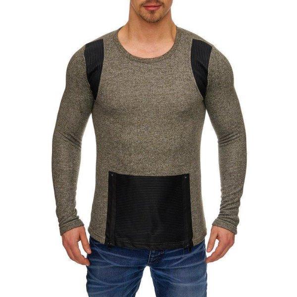 Herren Oversize Sweatshirt Pullover Hoodie TAZZIO 1231-1 Khaki S
