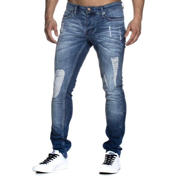 Slim Fit Herren Destroyed Look Stretch Jeans Hose Denim TAZZIO 1002a