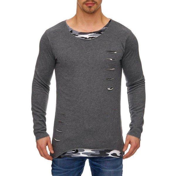 Styler Herren Langarmshirt Longsleeve Rundhals Crew Neck Sweatshirt Trendiges T-Shirt Hoodie TAZZIO 1212-1