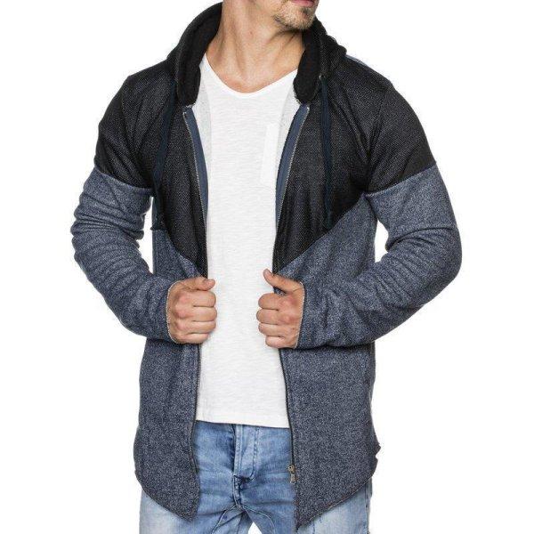 Herren Sweatshirt Sweatjacke TAZZIO 1221-1 Navyblau M