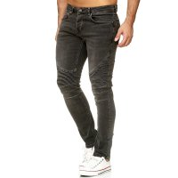 Herren Denim Biker-Jeans im Destroyed Look Slim Fit...