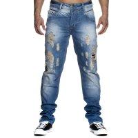 Herren Jeans Stonewashed Destroyed Used Look Hose Comfort...
