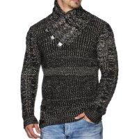 Herren Grobstrick-Pullover mit Kragendetails TAZZIO 16477