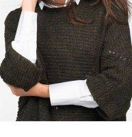 Damen-Oversize-Pullover, marine-gold von Vivance Collection