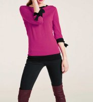 Feinstrickpullover, pink-schwarz von Heine
