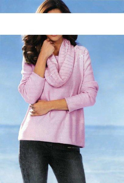 Pullover + Schal, rosé von Ashley Brooke