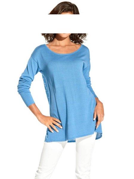 Pullover m. Satin, blau-weiß von Travel Couture by Heine