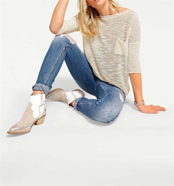Oversized-Pullover m. Pailletten, beige von Heine - Best Connections