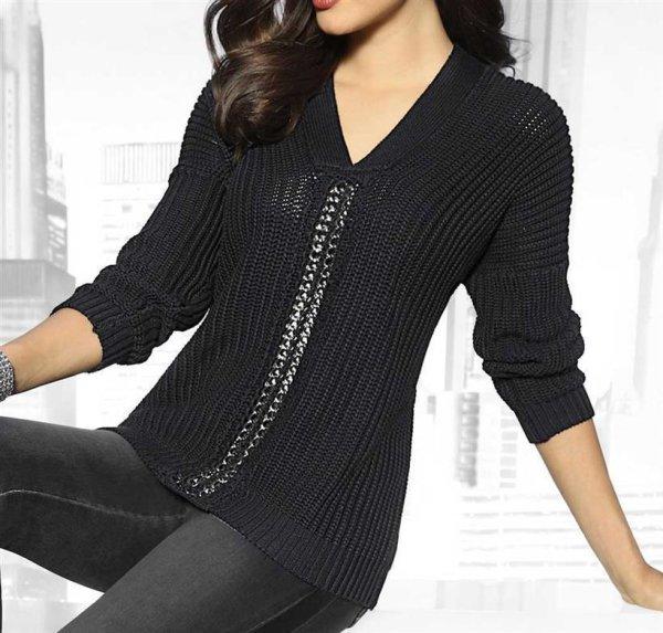 Pullover m. Kette, schwarz von Alba Moda