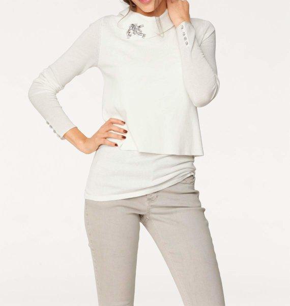2-n-1-Pullover, ecru von Rick Cardona