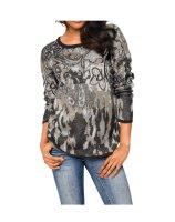 Jacquard-Pullover, graublau-bunt von PATRIZIA DINI