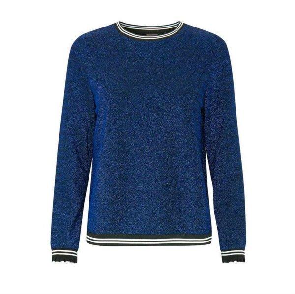 Glitzer-Pullover, blau-schwarz von ICHI